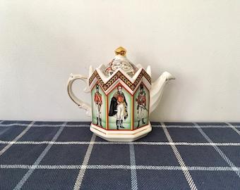 Vintage Sadler Staffordshire England Tea Pot, The Duke of Wellington & Soldiers of the Battle of Waterloo 1815
