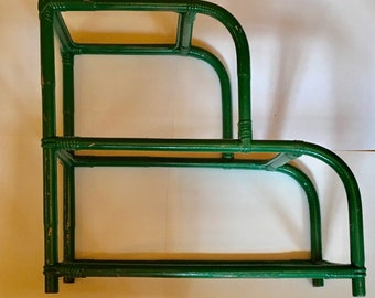 Vintage Green Stepped Rattan Rectangular Side Table/End Table with 2 Shelves