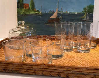 Vintage Javit Crystal Sailboat Clipper Ship Barware, Cocktail Glasses and Cheese Dome with Underplate