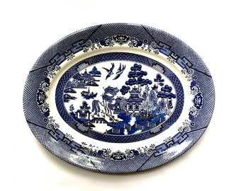 Vintage Blue and White Blue Willow Large Serving Platter, Churchill England, 2 available
