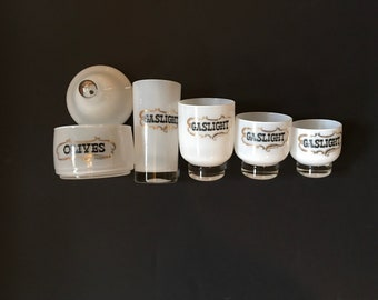 Vintage Culver Gaslight Cocktail Glasses and Olive Container, Sold individually