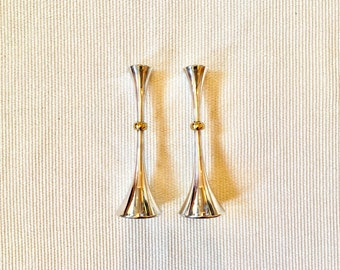 Jens Quistgaard, Dansk Silverplate and Brass Candleholders, JHQ Japan, Trumpet Horn Shape, Free shipping