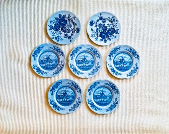 Vintage Bread/Dessert Plates, Set of 7, Johnson Brothers England, Tulip Time, Elizabeth, circa 1960s