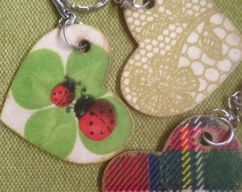 Decoupaged Double sided Heart Key Chain Keyring For HIM Checked
