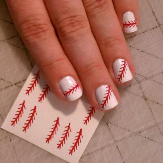 Baseball Nail Decals Softball Nail Decals Nail Stickers Etsy