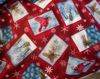 Winter, cardinal, christmas,snow cotton print