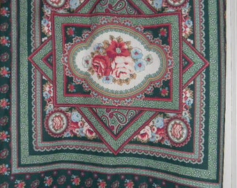 Pillow Panel, Fabric Country, Flowers, Paisley, Mauve, Green