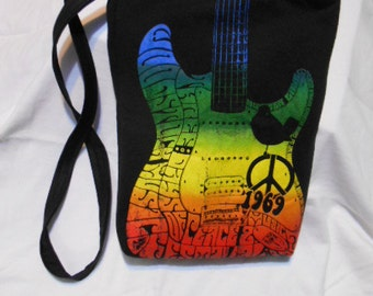 Upcycled T-Shirt Purse or Bag, over the shoulder or chest, Wood, stock, peace, music,1969