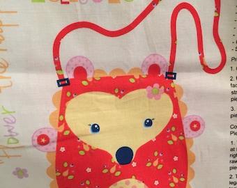 Flower the happy hedgehog fabric panel purse