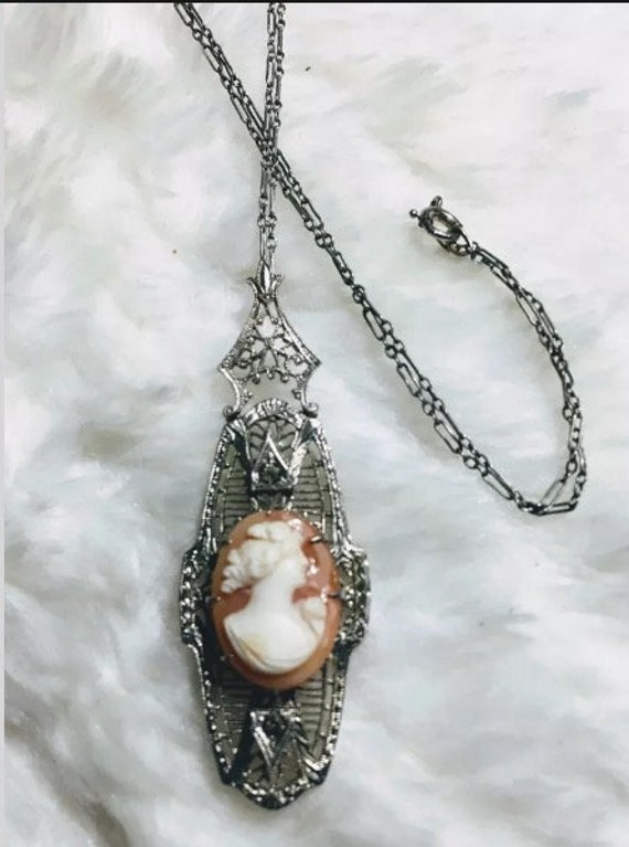 Beautiful antique silver paste cameo necklace