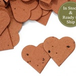 50% Off - COLOR of the WEEK Sale - 50 Cinnamon Brown Plantable Seed Paper Confetti Hearts - Wedding Favors, Bridal + Baby Shower  Favors