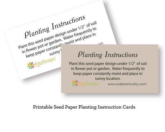 Diy Printable Seed Paper Planting Instructions Add On To Etsy