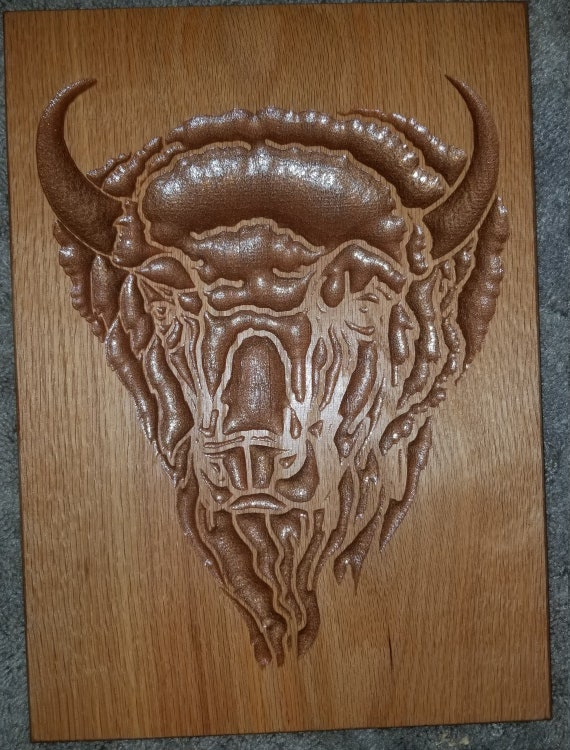 Buffalo tatonka chip carving in red oak etsy