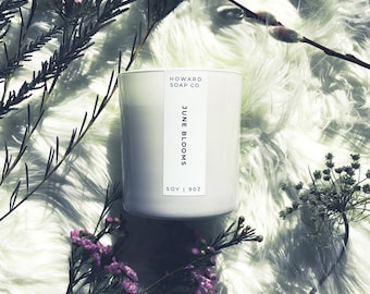 June Blooms Soy Candle | FREE SHIPPING | hydangea peony scent, floral candle, spring candle, phthalate free, handpoured, Minnesota Made, coa