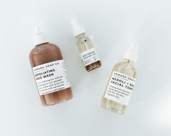 FACIAL SET   exfoliating face wash   facial oil   facial toner