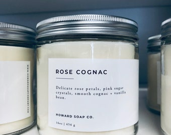 Soy Candle - Rose Cognac | Hand Poured Candle | Rose Candle | Phthalate Free | floral candle | minnesota made | cotton wick | clean burning