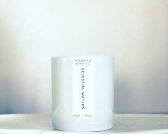 Celestial Waters Soy Candle | FREE SHIPPING | aqua floral scent, white candle, phthalate free, handpoured, Minnesota Made, coastal candle
