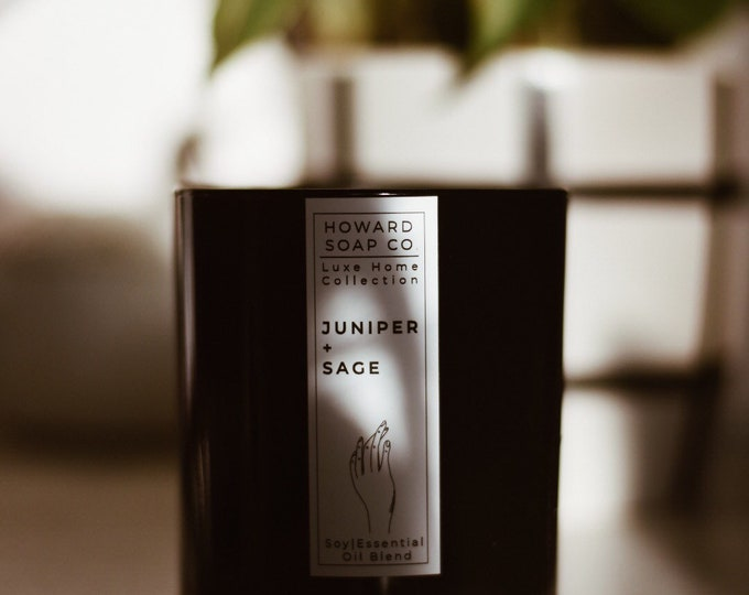 Featured listing image: Juniper + Sage Essential Oil Soy Candle |  Luxe Collection // nature inspired, herbal, phthalate free, handpoured, Minnesota Made