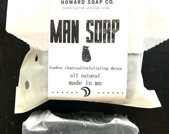 MAN SOAP Bar Soap >>vegan soap/detox soap bar/ artisan soap/activated charcoal soap/Minnesota made/wholesale soap