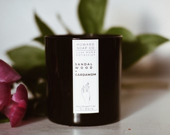 Sandalwood + Cardamom Essential Oil Soy Candle    Luxe Collection // nature inspired, herbal, santal 33 dupe, phthalate free, handpoured, Mi