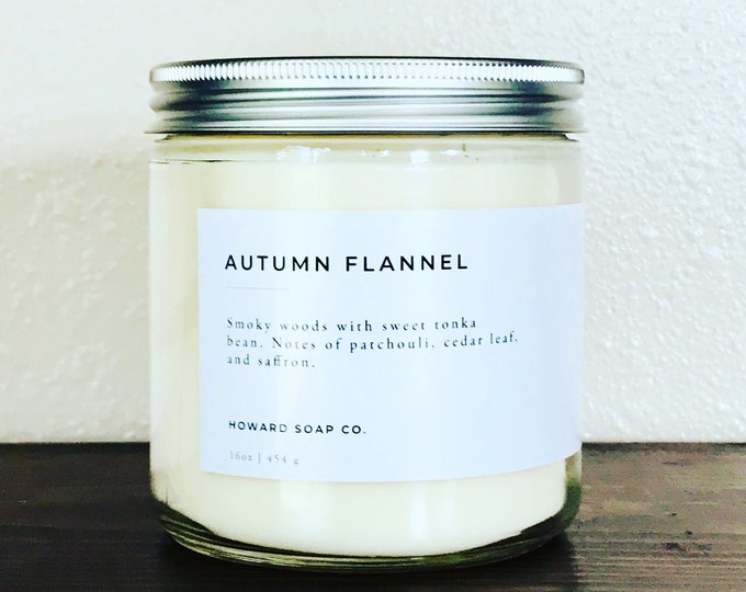 Featured listing image: Autumn Flannel | 100% soy candle | Fall Candle | Phthalate Free