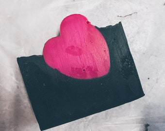 Heart Bar Soap | valentines soap, activated charcoal, detox soap, valentines gift, black and pink soap
