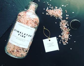 Himalayan Pink Bath Salts>> soaking salts/ all natural/ lavender essential oil/minnesotamade
