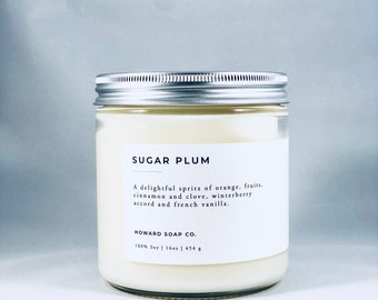 SUGAR PLUM| 100% soy candle | Winter Candle | Phthalate Free