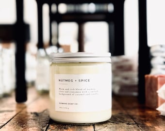 Nutmeg + Spice | 100% soy candle | Hand Poured Candle | Cinnamon Candle | Phthalate Free | Autumn Fragrance | Fall Scent | Spice Candle