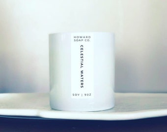 Celestial Waters Soy Candle | aqua floral scent, white candle, phthalate free, handpoured, Minnesota Made, coastal candle