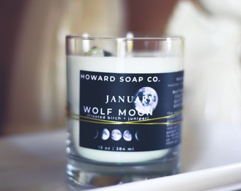 Full Moon Candle with Moonstone // May Moon, moonstone, soy candle, astrology candle, flower moon
