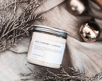 Red Currant + Juniper// soy candle/ holiday scents/Christmas decor/minimalist Christmas/gifts/Christmas candle/minnnesota made
