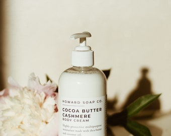 Cocoa Butter Cashmere Moisturizer // body lotion, shea butter, vanilla tonka, sandalwood, jasmine, amber + musk, coconut oil, all natural
