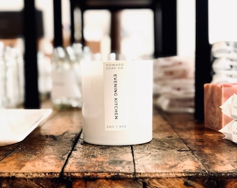 Evening Kitchen // soy candle, fall candle, apple spice, minimalist decor, phthalate free, Kitchen Candle, minnesota made, Woodwick, Autumn