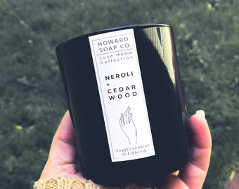 Neroli + Cedarwood Essential Oil Soy Candle |  Luxe Collection // nature inspired, citrus, woods, handpoured, Minnesota made, Women Owned
