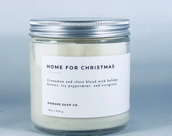 Hand poured Soy Candle | Winter Candle | Phthalate Free | Peppermint Vanilla