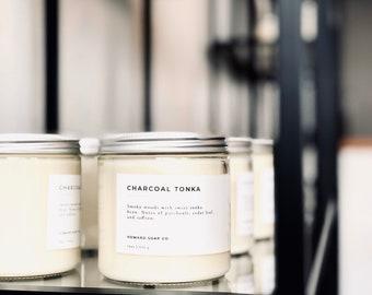 Charcoal Tonka// soy candle, fall candle, autumn candle, minimalist decor, phthalate free, masculine candle, minnesota made