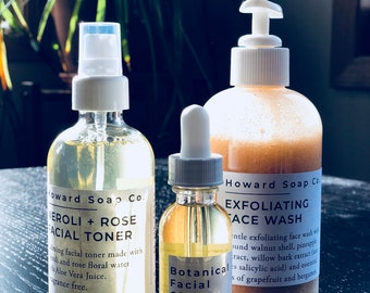 FACIAL SET | exfoliating face wash | facial oil | facial toner