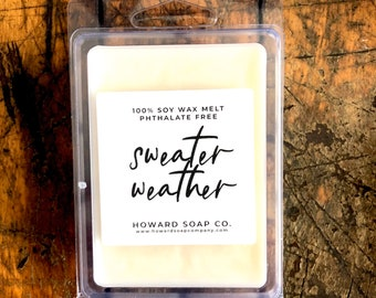 Sweater Weather Wax Melt // 3 OZ, cozy, soy, bergamot, mahogany, musk, phthalatefree, home fragrance, autumn scent, fall fragrance, MN Made