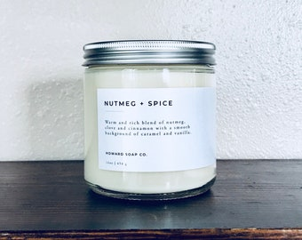 Nutmeg + Spice | 100% soy candle | Hand Poured Candle | Cinnamon Candle | Phthalate Free