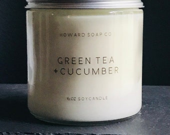 GREEN TEA + CUCUMBER >> soy candle/phthalate free/minnesotamade