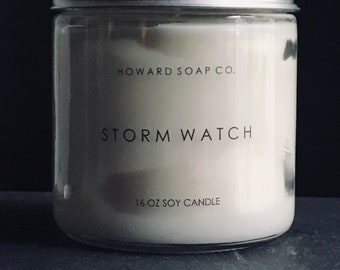 STORM WATCH CANDLE >> soy candle/thunderstorm/phthalate free/minnesotamade