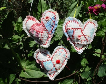 Handmade Hearts from a Vintage Quilt Embroidery Embroidered Up-cycled, Re-purposed Ornament Decor Set of 3