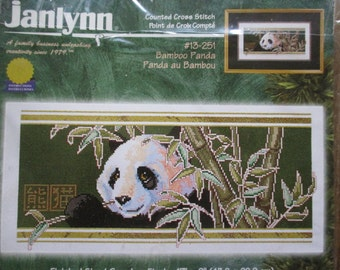 Janlynn Cross Stitch Kit Bamboo Panda Asian Picture 1999 Unused Embroidery Kit