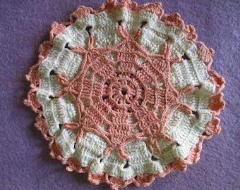 Vintage Potholder Handmade Crocheted Peach and Ivory Cotton Crochet Thread Round Flower Design Lace Doilie