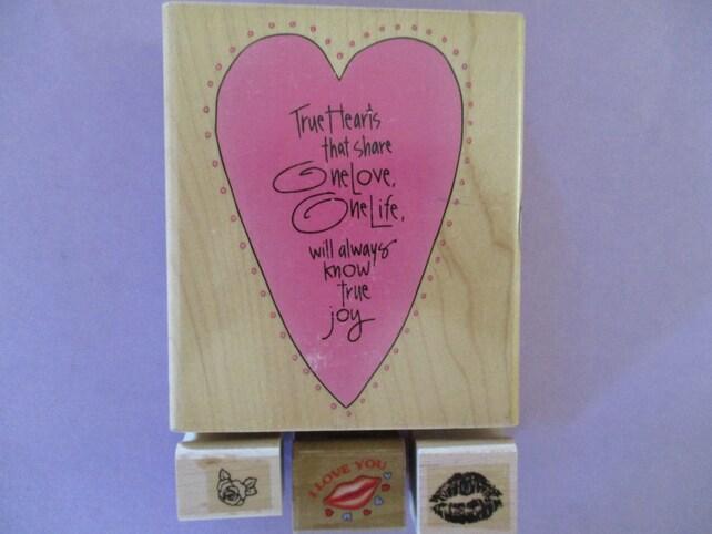 LOVE, Rose, Kiss Lips, Joy, Heart Rubber Stamps Set of 4 Wood Mounted Kathy Davis Inkadinkado, Noteworthy, Stampin Up