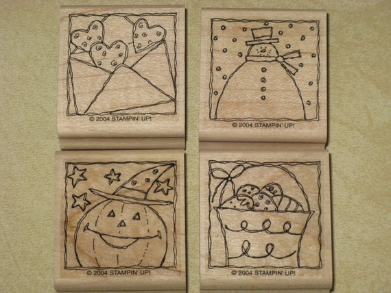 Stampin Up Festive Four Tags Rubber Stamp Set  Wood Mounted  - Retired 2004 Set of 4 Holiday Occasions