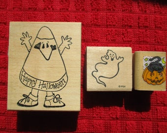 Ghost, Pumpkin & Cat, Candy Corn Trick or Treat Kid Halloween Rubber Stamps Set of 3 USA  October Vintage 1990's CUTE FUN Stamps