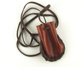 Braided leather pouch