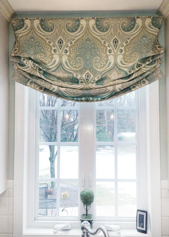 Faux Roman Shade Valance Custom Window Treatment Relaxed Etsy